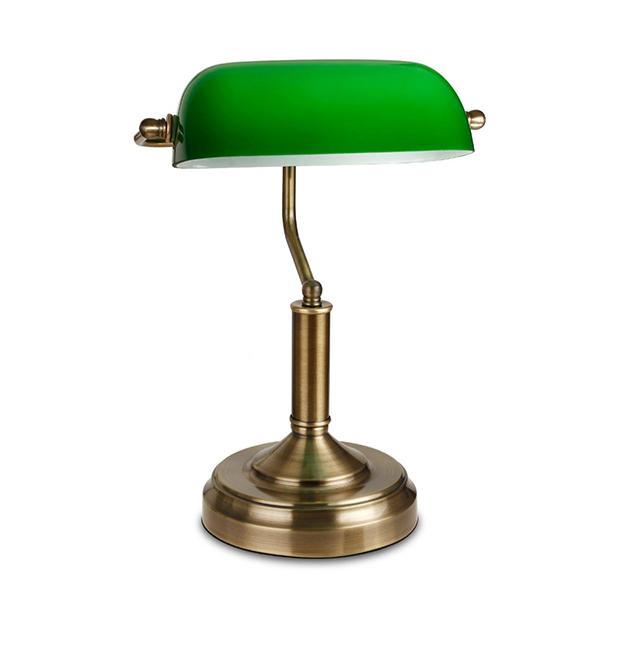 zelena lampa stona bankarka